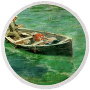 Green Waters Round Beach Towel