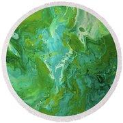 Green Waters Round Beach Towel