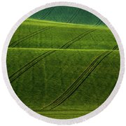 Round Beach Towel featuring the photograph Green Waves Of Rolling Hills by Jenny Rainbow