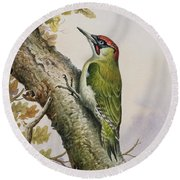 Green Woodpecker Round Beach Towel by Carl Donner