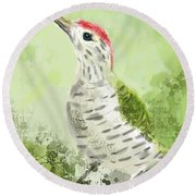Green Woodpecker Round Beach Towel