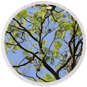 Greenery Center Panel Round Beach Towel