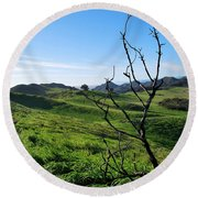 Round Beach Towel featuring the photograph Greenery In The Hills Landscape by Matt Harang
