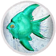 Round Beach Towel featuring the mixed media Greenfish by Walt Foegelle