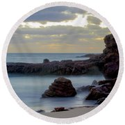Round Beach Towel featuring the photograph Greenglades Beach Morning by Angela DeFrias