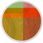 Greens And Reds Round Beach Towel