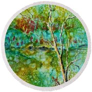 Greens Of Late Summer Round Beach Towel by Carolyn Rosenberger