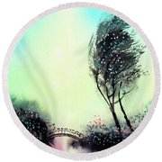 Round Beach Towel featuring the painting Greeting 1 by Anil Nene