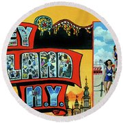 Greetings From Coney Island Towel Verson Round Beach Towel
