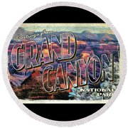 Round Beach Towel featuring the painting Greetings From Grand Canyon National Park by Christopher Arndt