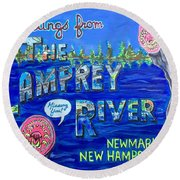 Greetings From The Lamprey River Round Beach Towel