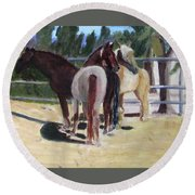 Gregory And His Mares Round Beach Towel
