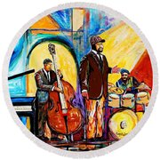 Gregory Porter And Band Round Beach Towel by Everett Spruill