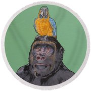 Gregory The Gorilla Round Beach Towel