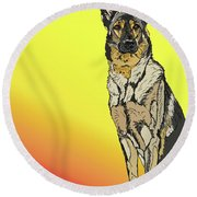 Gretchen In Digital Round Beach Towel