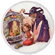 Gretel And Witch Round Beach Towel