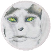 Round Beach Towel featuring the drawing Gretta by Kim Sy Ok