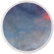 Round Beach Towel featuring the photograph Pink Flecked Sky by Linda Hollis