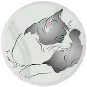 Grey And White Cat In Profile Graphic Round Beach Towel