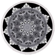 Grey Bubbley Eyes Mandala Round Beach Towel by Wernher Krutein