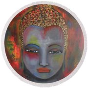 Grey Buddha In A Circular Background Round Beach Towel