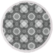 Grey Circles And Flowers Pattern Round Beach Towel