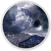 Grey Clouds Round Beach Towel
