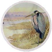 Grey Heron Round Beach Towel by John James Audubon