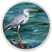 Grey Heron Of Cornwall -painting Round Beach Towel