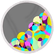 Grey Multicolored Circles Abstract Round Beach Towel