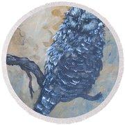 Grey Owl1 Round Beach Towel