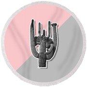 Grey Pink Cactus Round Beach Towel