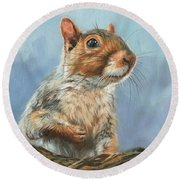 Round Beach Towel featuring the painting Grey Squirrel by David Stribbling