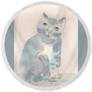 Grey Tabby Round Beach Towel
