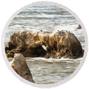 Round Beach Towel featuring the photograph Grey Water At Window Rock by Barbara Snyder
