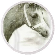 Grey Welsh Pony  Round Beach Towel