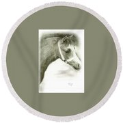 Grey Welsh Pony  Round Beach Towel