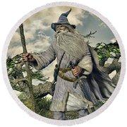 Grey Wizard II Round Beach Towel by Dave Luebbert