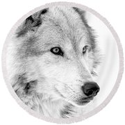 Grey Wolf Profile Round Beach Towel
