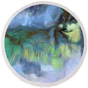 Grey Wolves In Snow Round Beach Towel