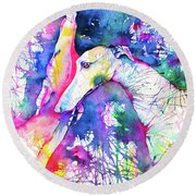 Greyhound Trance Round Beach Towel