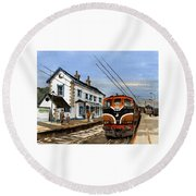 Greystones Railway Station Wicklow Round Beach Towel