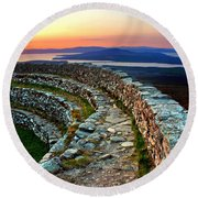 Grianan Fort Sunset Round Beach Towel