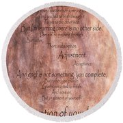 Round Beach Towel featuring the mixed media Grief 1 by Angelina Vick