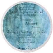 Round Beach Towel featuring the mixed media Grief 2 by Angelina Vick