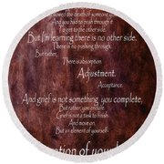Round Beach Towel featuring the mixed media Grief 3 by Angelina Vick