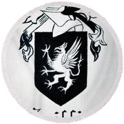 Griffin Family Crest Round Beach Towel by Stacy C Bottoms