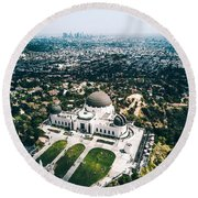Griffith Observatory And Dtla Round Beach Towel