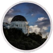 Griffith Observatory Round Beach Towel by Joseph Hollingsworth