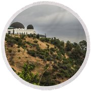 Round Beach Towel featuring the photograph Griffith Park Observatory by Ed Clark